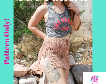 Pattern: The Mohave Cover Up Skirt, Crochet pattern, Crochet cover up, swimsuit cover, crochet skirt, skirt pattern, mesh skirt pattern, pdf