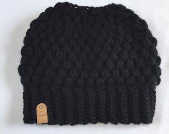 Black Ponytail Beanie, Bun Beanie, Messy Bun Beanie, Mom Bun Beanie, Beanie with a hole, Claire Bun Beanie, Ladies Beanie, Womens winter hat