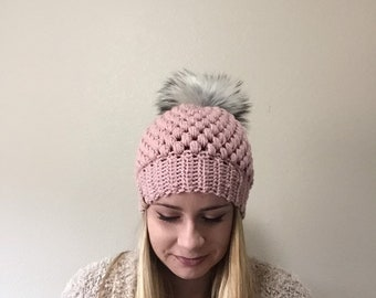 Pink Women's Beanie with Faux Fur PomPom, fur pom beanie, crochet beanie, women's beanie, ladies knit beanie, gifts for her, women's hat