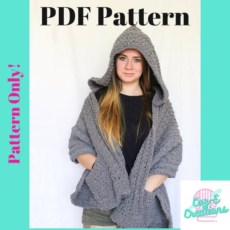 Pattern: Charleston Hooded Shawl Crochet Pattern Hooded image 0
