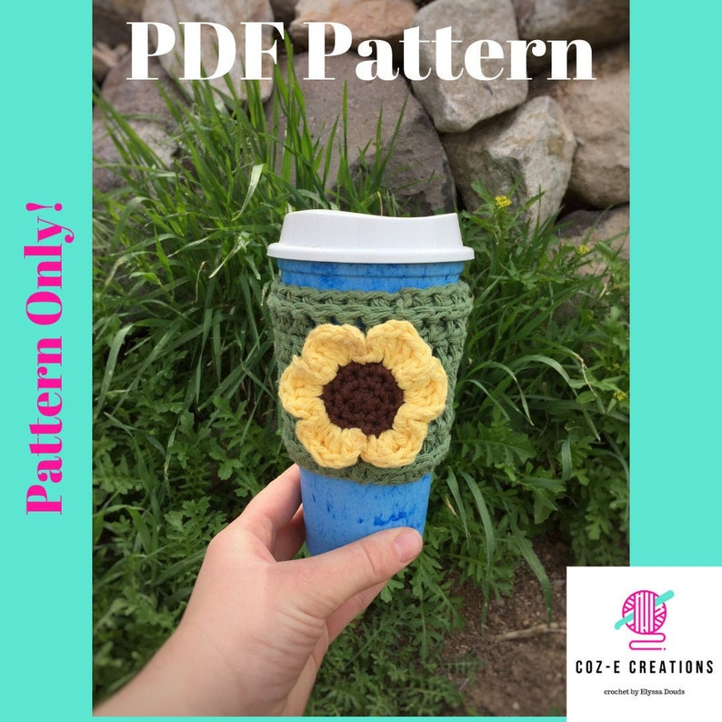 Pattern: Sunflower Coffee Cup Cozy Crochet Pattern Crochet image 0