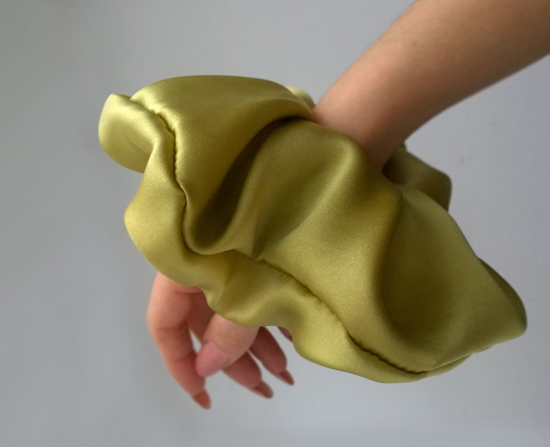 Chartreuse scrunchies silk hair accessories Chartreuse image 0