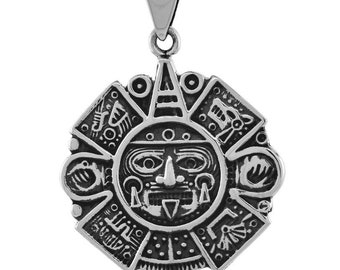 """MAYAN CALENDAR PROPHECY COIN PENDANT on a NICE  20/"""" GOLD FILLED FIGARO CHAIN"""