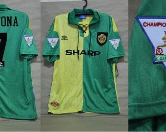d13e1ec90ff Manchester united 1992 1993 1994 away yellow green jersey shirt premier  league style eric cantona shirt jersey playera