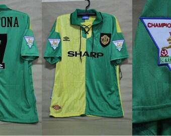 52fc6b080ce Manchester united 1992 1993 1994 away yellow green jersey shirt premier  league style eric cantona shirt jersey playera