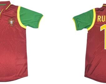 Adatto per individuali e Team Club Uniformi Personalizzabile Figo Rui Costa Calcio 1998-1999 Vintage Portogallo Calcio T-Shirt per Uomo