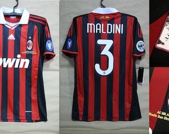 872de046820 ac milan 09-10 jersey shirt last match maldini paolo milano milanista t- shirt rossoneri