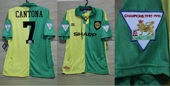 Manchester United 1992 1993 1994 Away Yellow Green Jersey Etsy