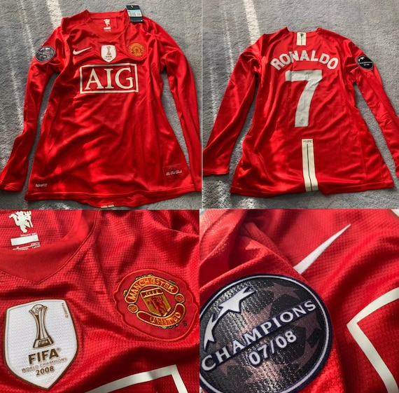 manchester united 2008 2009 long sleeve cristiano ronaldo etsy manchester united 2008 2009 long sleeve cristiano ronaldo jersey shirt champions league model home playera