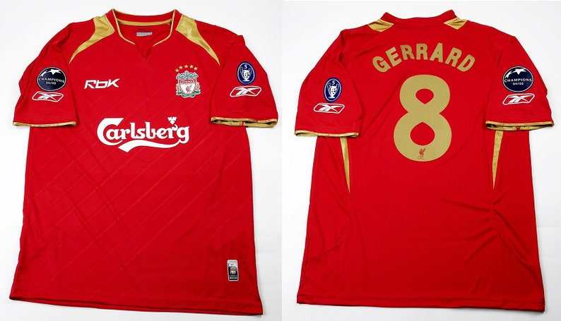 sports shoes f6b74 97043 liverpool 2005 2006 jersey shirt champions league model trikot red never  walk alone gerrard