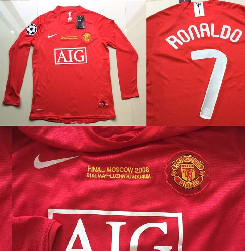 new style da13b b130e Manchester united 2008 champions league final moscow long sleeve cristiano  ronaldo jersey shirt