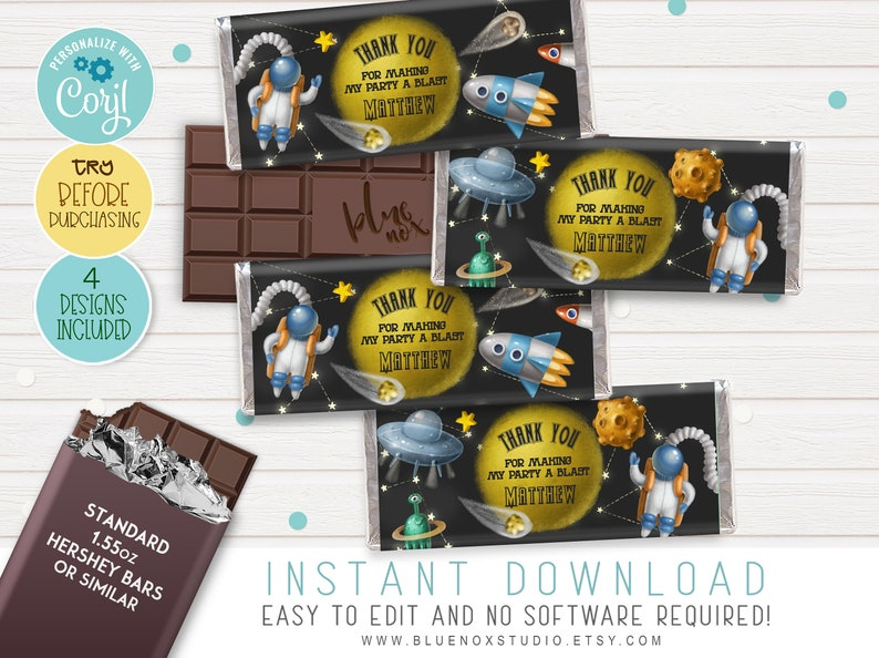 Space Theme Candy Bar • Editable Space Candy Bar • Printable Candy Bar •  Instant Download • Space Wrapper Chocolate Bar • CHT026_AK