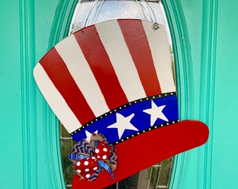 Items Similar To Uncle Sam Hat Burlap Door Hanger On Etsy