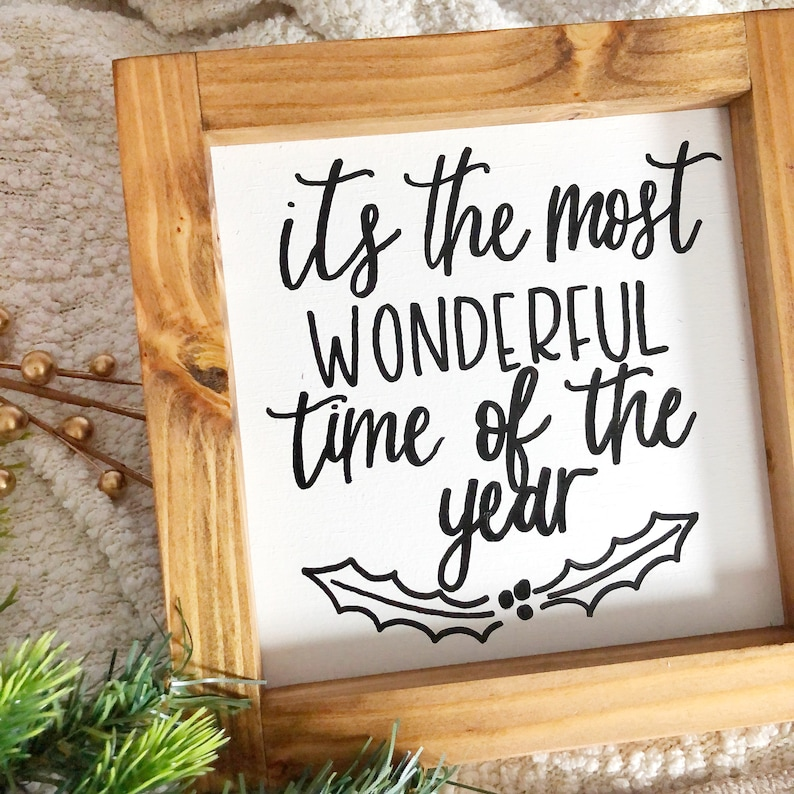 It/'s The Most Wonderful Time of the Year Handlettered Wooden Sign Christmas House Decor Wood Sign Farmhouse Decor Handwritten Wood Sign