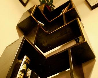 Staggered Corner Bookcase Bookshelf Floor Standing Hardwood Handmade By Blossom Woodworking Opt Distressed Edges FREE PICKUP In LA