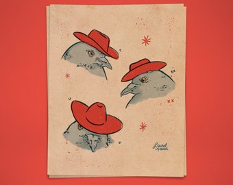Pigeon Cowboys Print