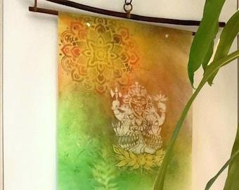 Ganesh on Lotus: Rice Paper Wax Scroll