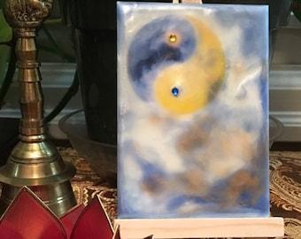 Encaustic Wax Painting: Misty Yin Yang Moon Rising