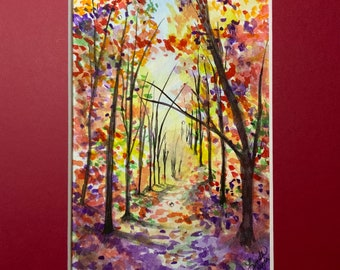 """Serenity Awaits - Watercolor Painting 5"""" x 7"""" (Framed 10"""" x 12"""")"""