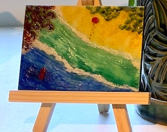 Encaustic Wax Painting: Day at the Beach