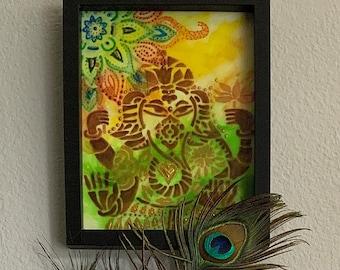 Ganesh Blessing: Encaustic Wax Painting
