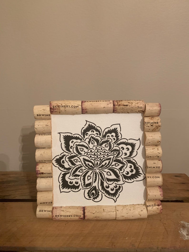 Floral Canvas With Wine Cork Frame Etsy