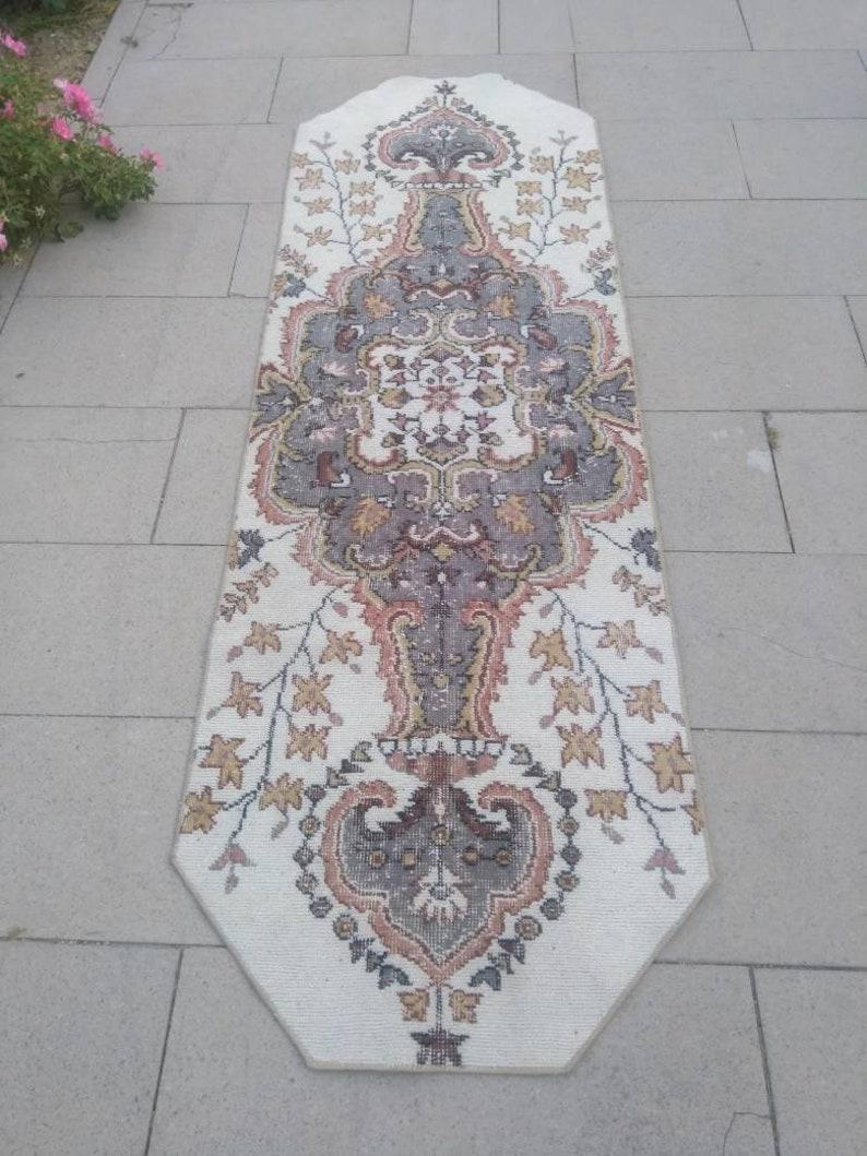 Styl hallway rug vintage white and gray rug runner turkish ...