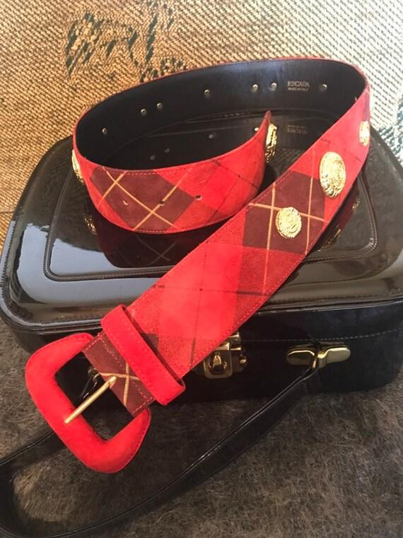Vintage Escada Red Tartan Suede Belt, Designer Bel