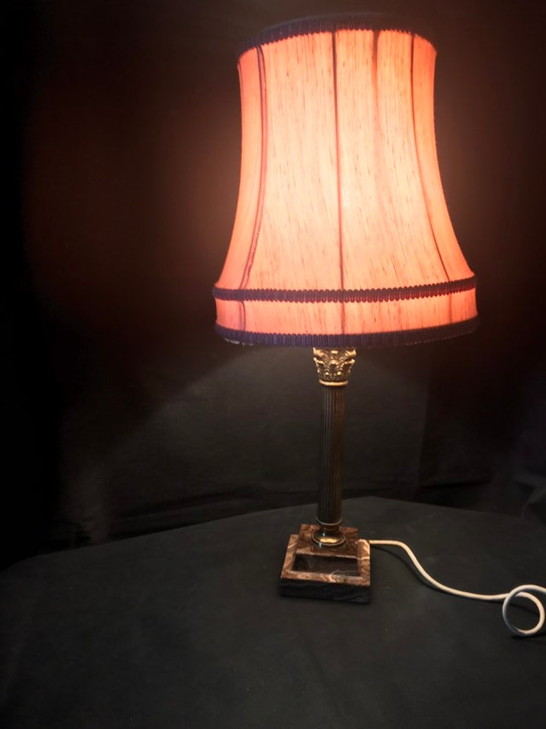 An Edwardian Brass And Marble Corinthian Table Lamp