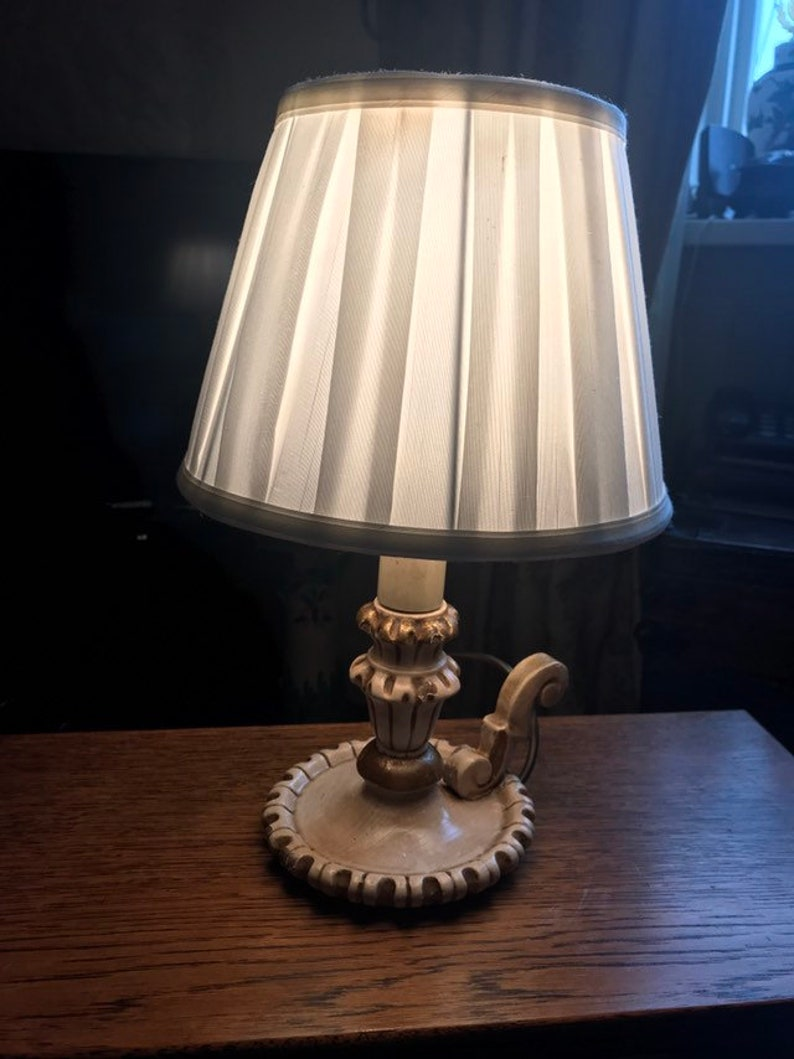 Vintage Small Italian Painted Chamber Lamp