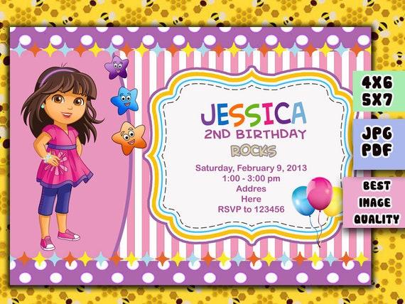 Digital Dora Invitation Dora Birthday Invitation Best Etsy