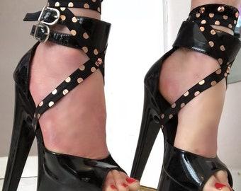 Rose gold flat metallic stud dancer gloves and foot harness matching set