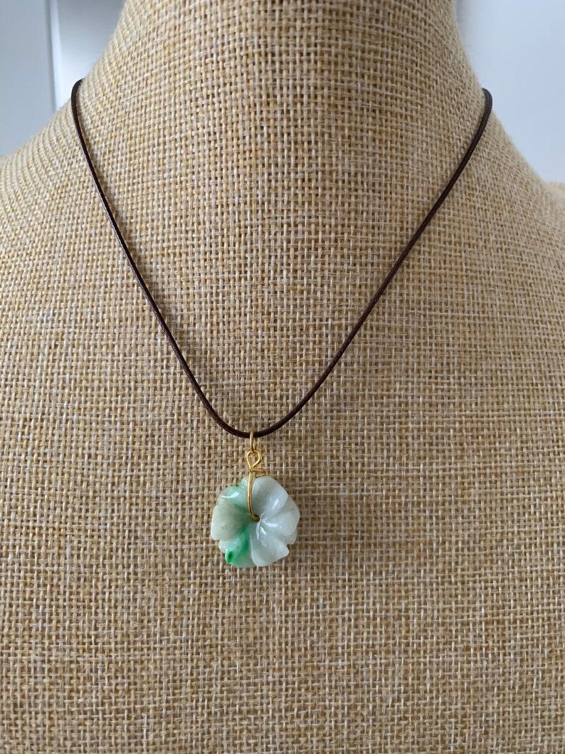 Type A 100Natural light greenpurplewhite jadeite Jade flower Pendant necklaceWP-5
