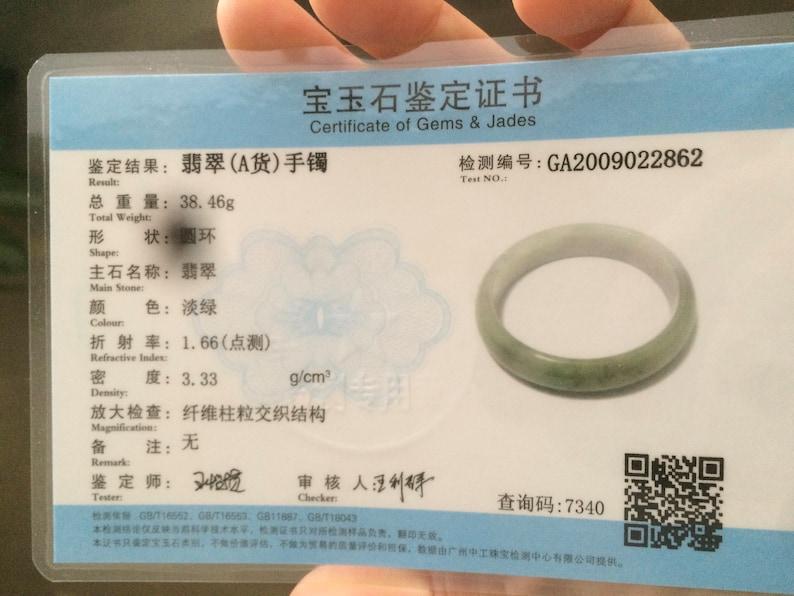 Certified 49.7mmType A 100/% Natural dark greenwhite oval shape Jadeite Jade bangle X27-2862 Sale