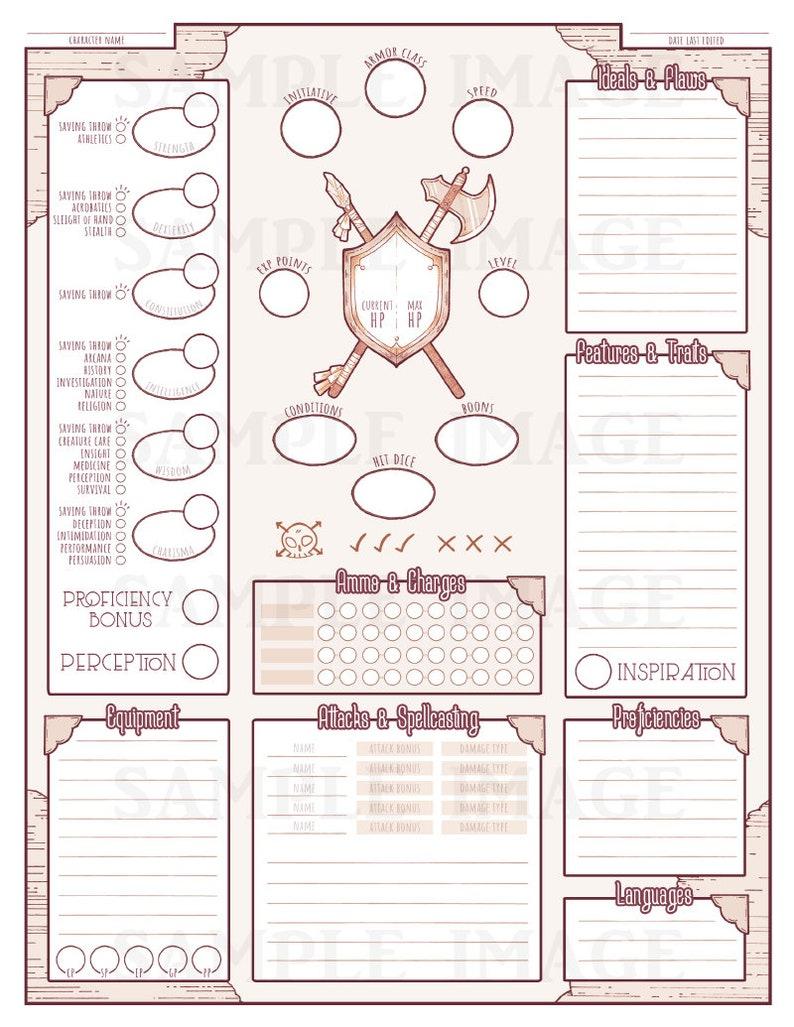 Custom Character Sheets (Digital Download)