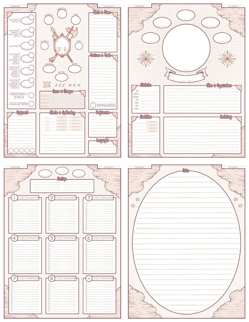 photo about Printable Character Sheet titled Custom made Temperament Sheets (Electronic Down load)