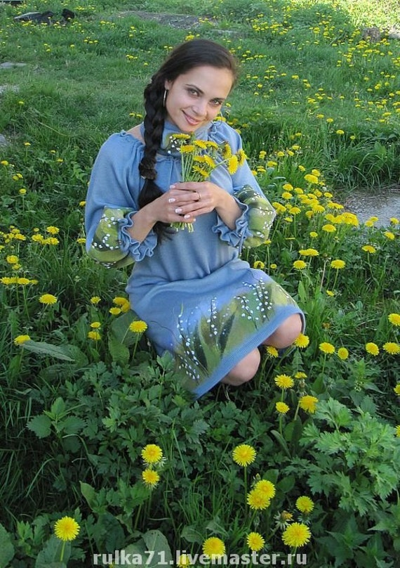 cfaba8c9136 Wool blue dress Lilies of the Valley with hand embroidery and