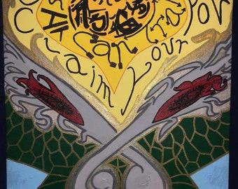 Shape & Shift Abstract Art (Acrylic Dragon Painting 14x11)