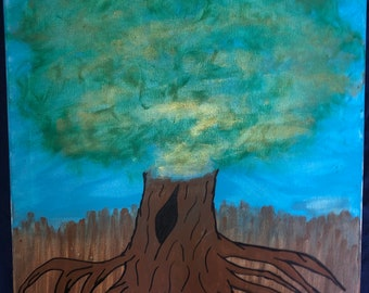 Trees Abstract Art (Acrylic Canvas Painting 19x16)