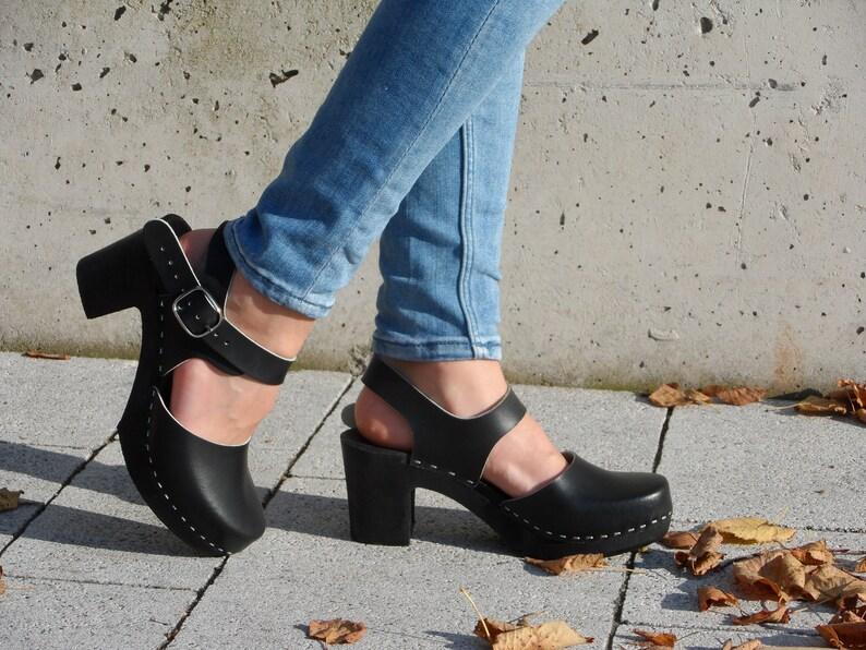 a11fdc3d52442 Clogs women,Heel shoes,Women clogs,Leather sandals,Swedish clogs,Leather  women shoes,Women summer shoes,Heel sandals,Black women sandals