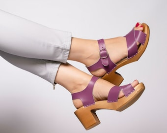Swedish clogs, Women clogs, Leather clogs, Wooden clogs,Yellow clogs, Women sandals, Leather sandals, Handmade clogs, Blue clogs, Heel clogs