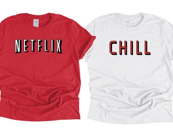 057d68a24 Netflix and Chill Parody Couples Halloween Costume T-Shirt COMBO  Valentine's Matching Shirts Movie Night Tee
