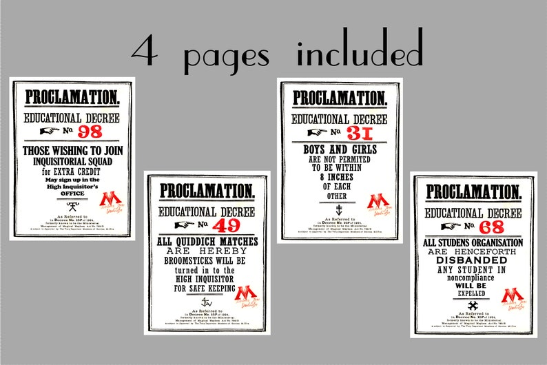 Harry Potter Card Printable Educational Decree Poster ...