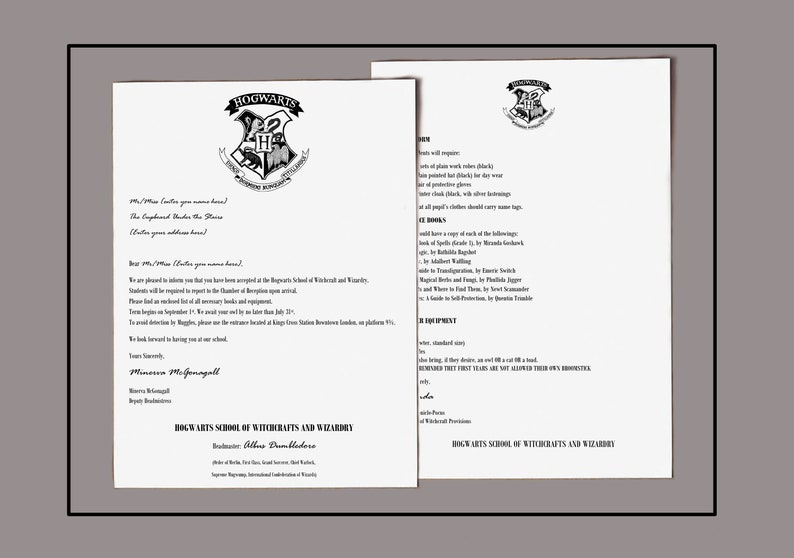photograph about Printable Hogwarts Letter named Harry Potter Letter Printable Harry Potter Printable Letter In opposition to Hogwarts Harry Potter Reward Immediate Obtain Custom made Letter PS1006
