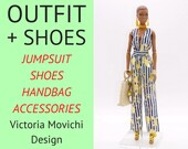 Fashion Royalty doll clothes - Fashion Royalty jumpsuit, shoes, handbag. Fashion Royalty outfit for FR2 FR6 Nu Face and NuFace2 bodies.