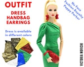 Outfit One-Shoulder Dress, Handbag, Earrings for Fashion Royalty 12 39 39 dolls.