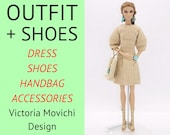 Doll clothes for Fashion Royalty: dress, shoes, handbag, accessories. Doll outfit for FR2 FR6 Nu Face and NuFace2 bodies.