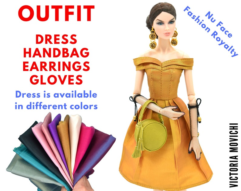 Outfit: Gold Lined Dress Handbag Earrings Gloves for image 0
