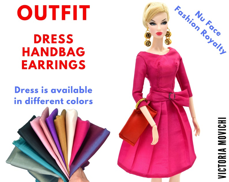 Fashion Royalty Outfit: Prom Lined Dress Handbag Earrings image 0