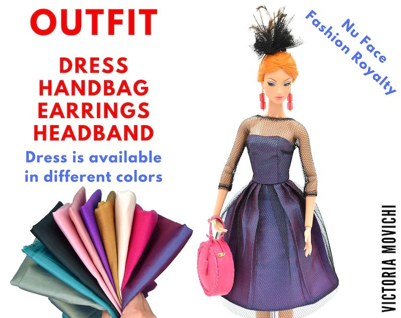 Fashion Royalty Outfit: Lined Dress Handbag Earrings image 0